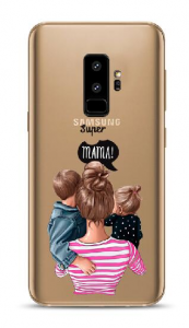 Case Super Mama with son and daughter Samsung S9